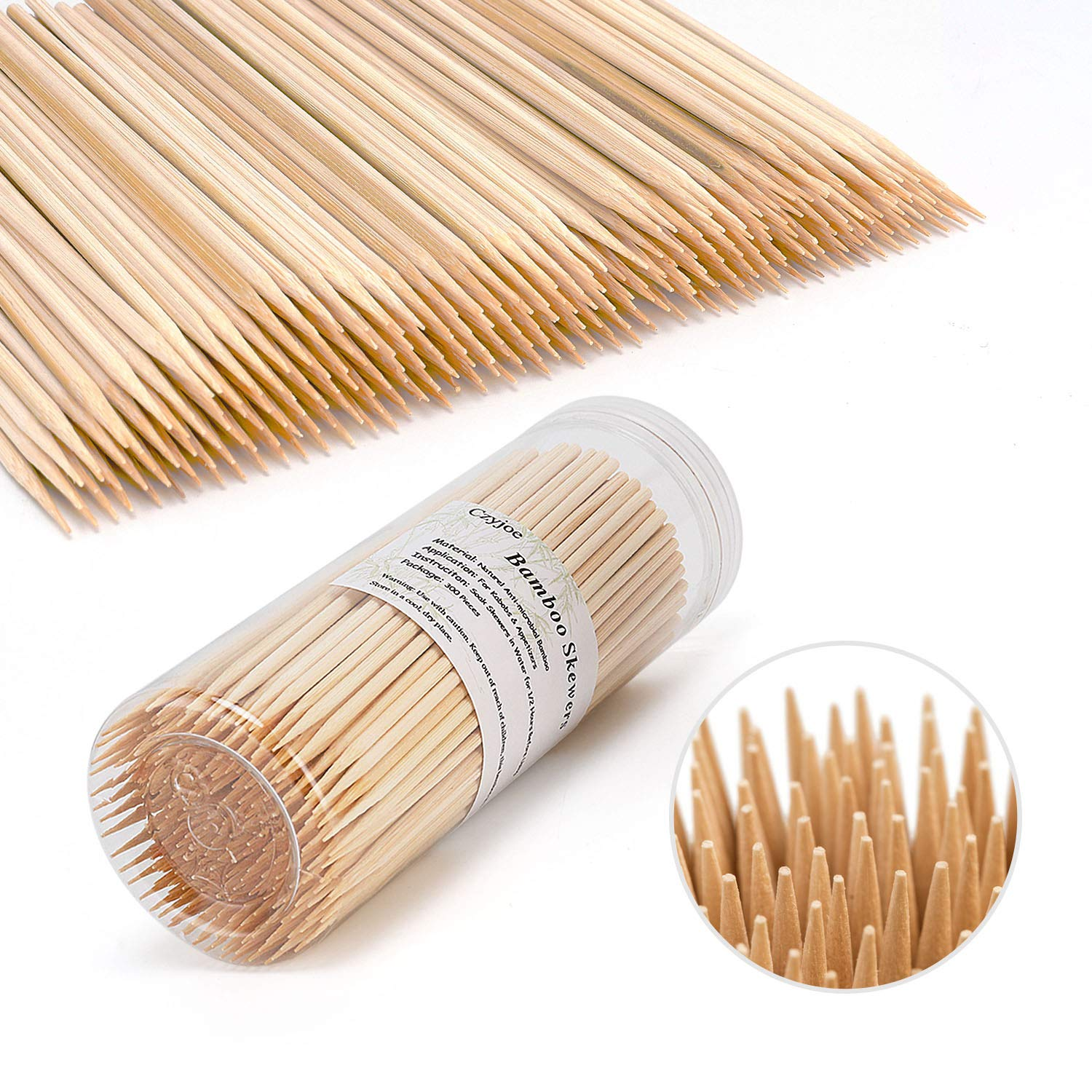 Bamboo Skewers BBQ Natural Bamboo Sticks for Appetizers, Cocktails, Caramel, Candy Apple, Corn Dog, Corn Cob, Chocolate Fountain, Kabob, Grill (4 inch -300pcs) Czyjoe