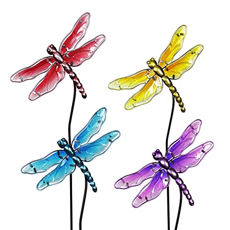 Exhart Dragonfly Garden Stakes, Glass, Set Of 4, Red Yellow Turquoise  Purple,