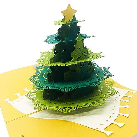 Amazon.com: Tarjeta de felicitación de Navidad 3D con sobre ...