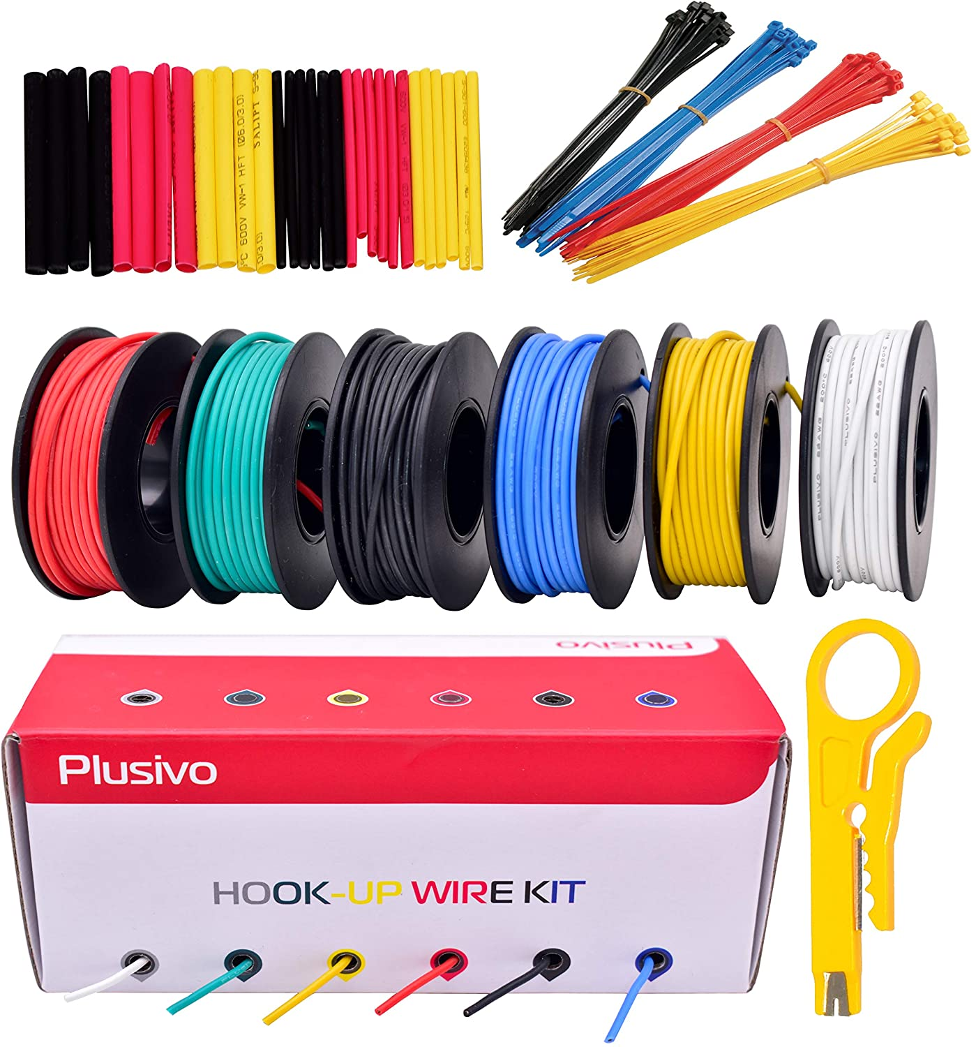 22GA Hook up Wire Kit - 22AWG Silicone Wire - 600V Tinned Stranded Electrical Wire of 6 Different Colors x 23 ft each - Black, Red, Yellow, Green, Blue, White - Wire Assortment Kit from Plusivo