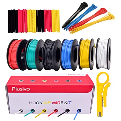 22GA Hook up Wire Kit - 22AWG Silicone Wire - 600V Tinned Stranded Colors Of Electrical Wiring on