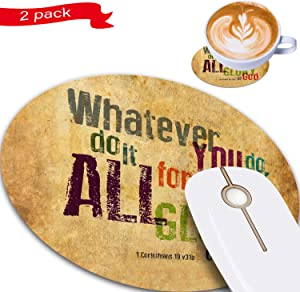 Gaming Mouse Pad, Christian Bible Verse Design Round Non-Slip Rubber Mouse Pads Office Desk Accessories for Computers Laptop Computer Desk Come with Coasters Set