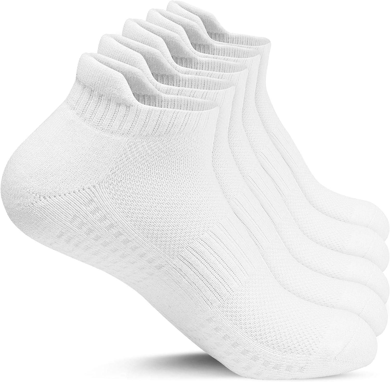 Taille 41-46 Gozlu 5 Paires Chaussette Hommes Sport Chaussettes Running Courte en Coton Soutien Vo/ûte Plantaire Filets De Ventilation Respirants Anti-Ampoules Coussinets