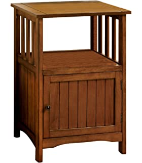 Furniture Of America Pompey Mission Style 1 Door Side Table, Antique Oak  Finish