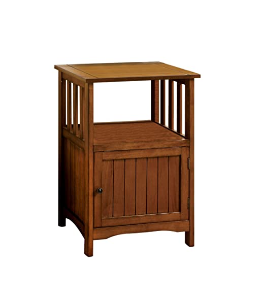 Superior Furniture Of America Pompey Mission Style 1 Door Side Table, Antique Oak  Finish