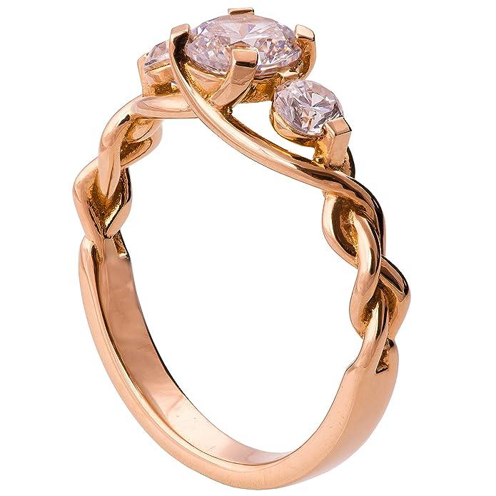 eb6f8e24b4779b Three Stone Braided Engagement Ring For Women Set With Three Forever  Brilliant Moissanite stones Celtic | Amazon.com