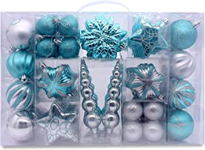 AUXO-FUN 73ct Assorted shatterproof Christmas Ornaments Luxury Collection Set in Reusable Hand-held Gift Package for Christmas Tree Decoration (Turquoise & Silver)