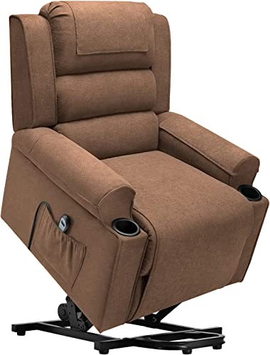 Waleaf Electric Recliner Chair for Elderly, Power Lift Chair with Side Pocket, Linen Fabric Single Sofa with 2 Cup Holders, Reclining Chair with 4 Removable Cloth Mats for Living Room Brown