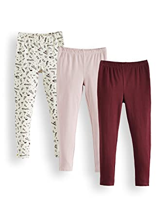 a042511f159697 RED WAGON Girl's Printed and Plain Leggings, Multicolour (Cream, Lilac and  Burgundy)
