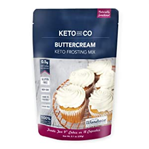 Buttercream Keto Frosting Mix by Keto and Co | Just 0.5g Net Carbs Per Serving | Gluten Free, Low Carb, No Added Sugar, Naturally Sweetened | (18 Servings- Buttercream)