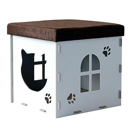 PawHut Asiento con Casa de Gato Caseta Mascota con Tapa para Sentarse Tablero de Arañar Banco
