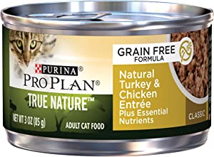 Purina Pro Plan Natural, Grain Free Pate Wet Cat Food, TRUE NATURE Natural Turkey & Chicken Entree - (24) 3 oz. Pull-Top Cans