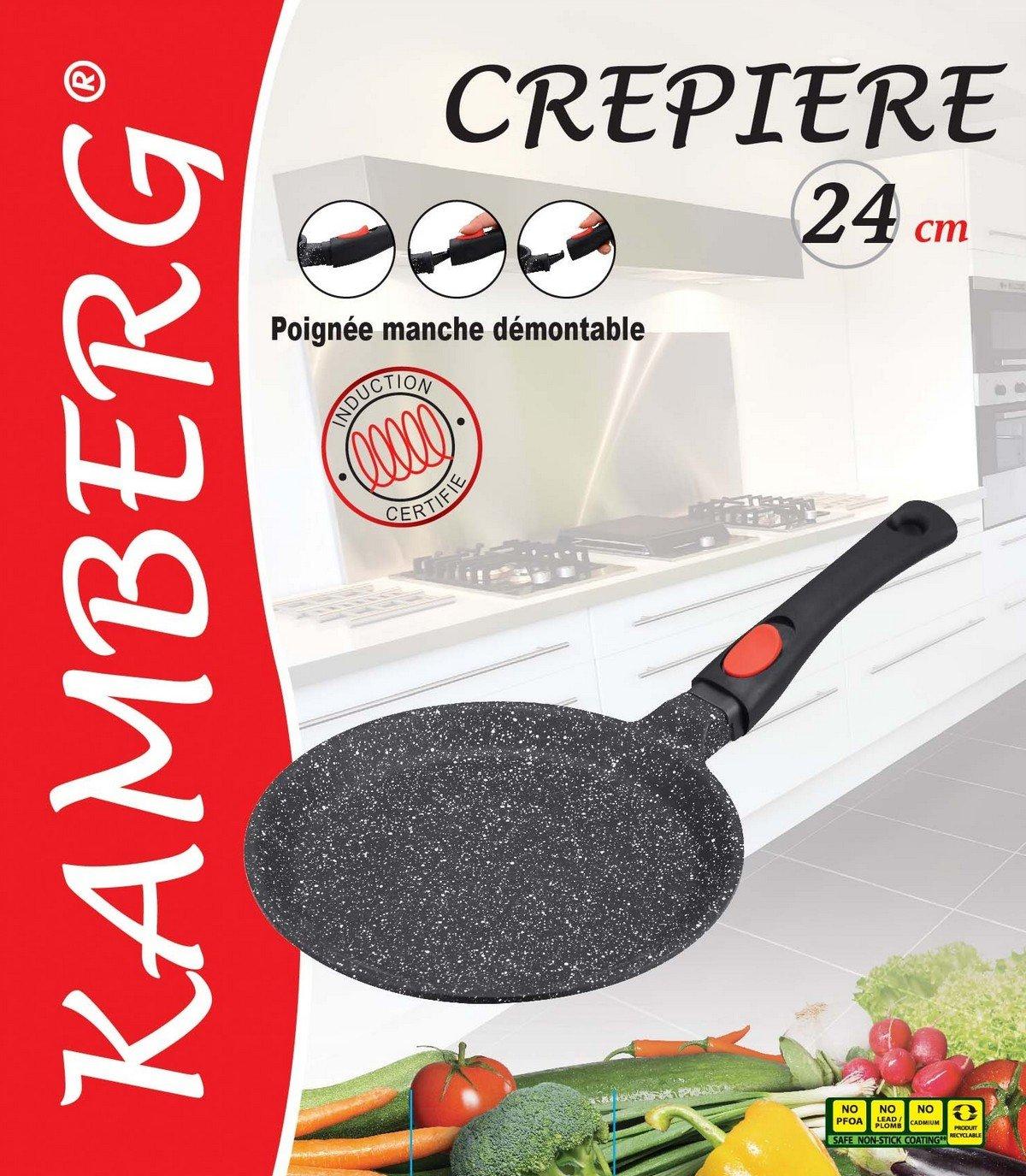 Kamberg - 0008050 - Sartén para crepes 24 cm - Mango Extraíble - Aluminio Fundido - Revestimiento Piedra antiadherente - Todos los incendios, ...