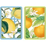 Entertaining with Caspari Double Deck of Bridge Playing Cards, Jumbo Type, Citrus