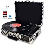 DIGITNOW! Vinyl / LP Record Player Wth Stylish Suitcase Turntable, Multi-function Bluetooth FM Radio, USB to MP3 Recorder / Player,Win10&Mac PC Recording,Rechargeable battery