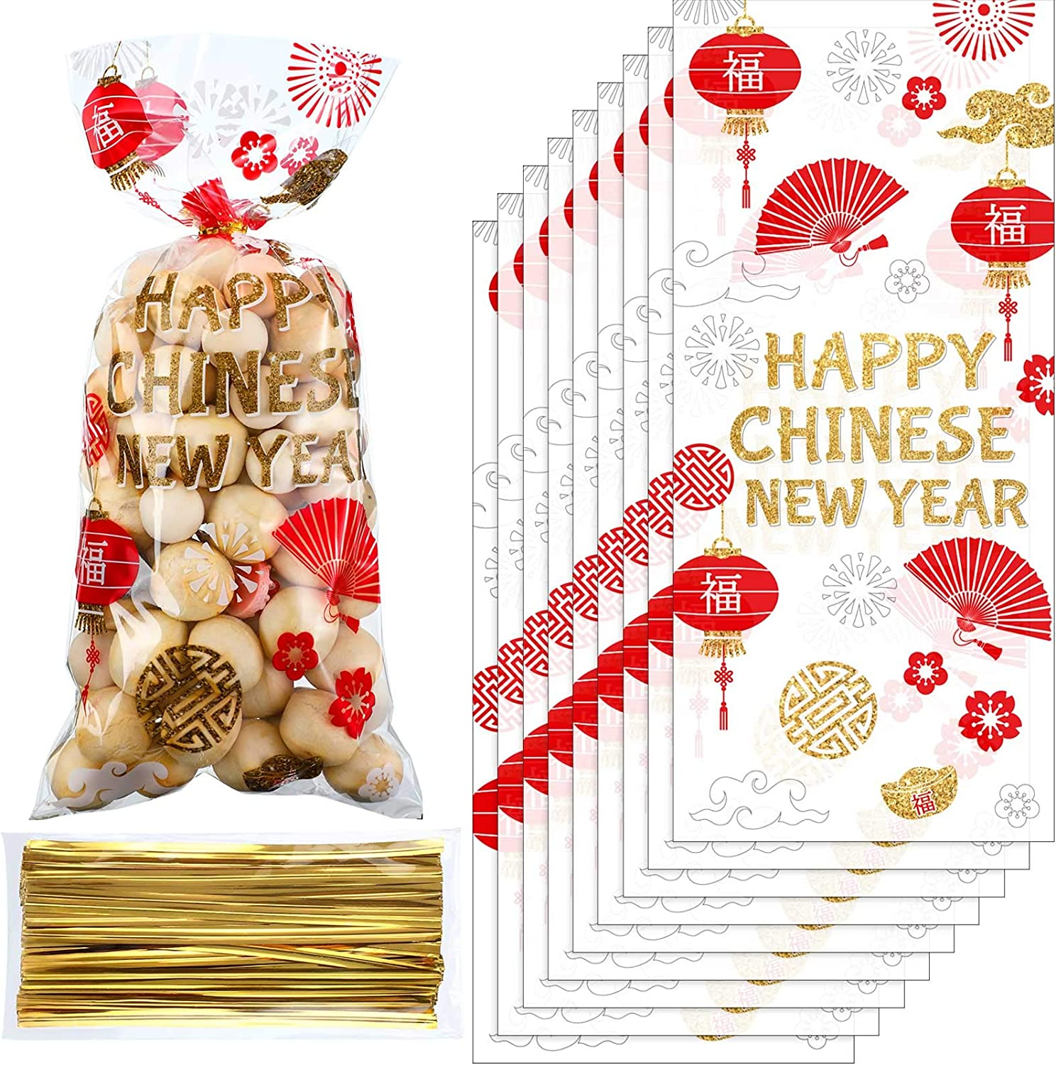 100 Pieces Chinese New Year Cellophane Treat Bags, Red Gold Chinese Party Plastic Candy Bags Goodies Present Bags with 100 Gold Twist Ties for Year of The Ox Lunar Year Spring Festival Party Supplies