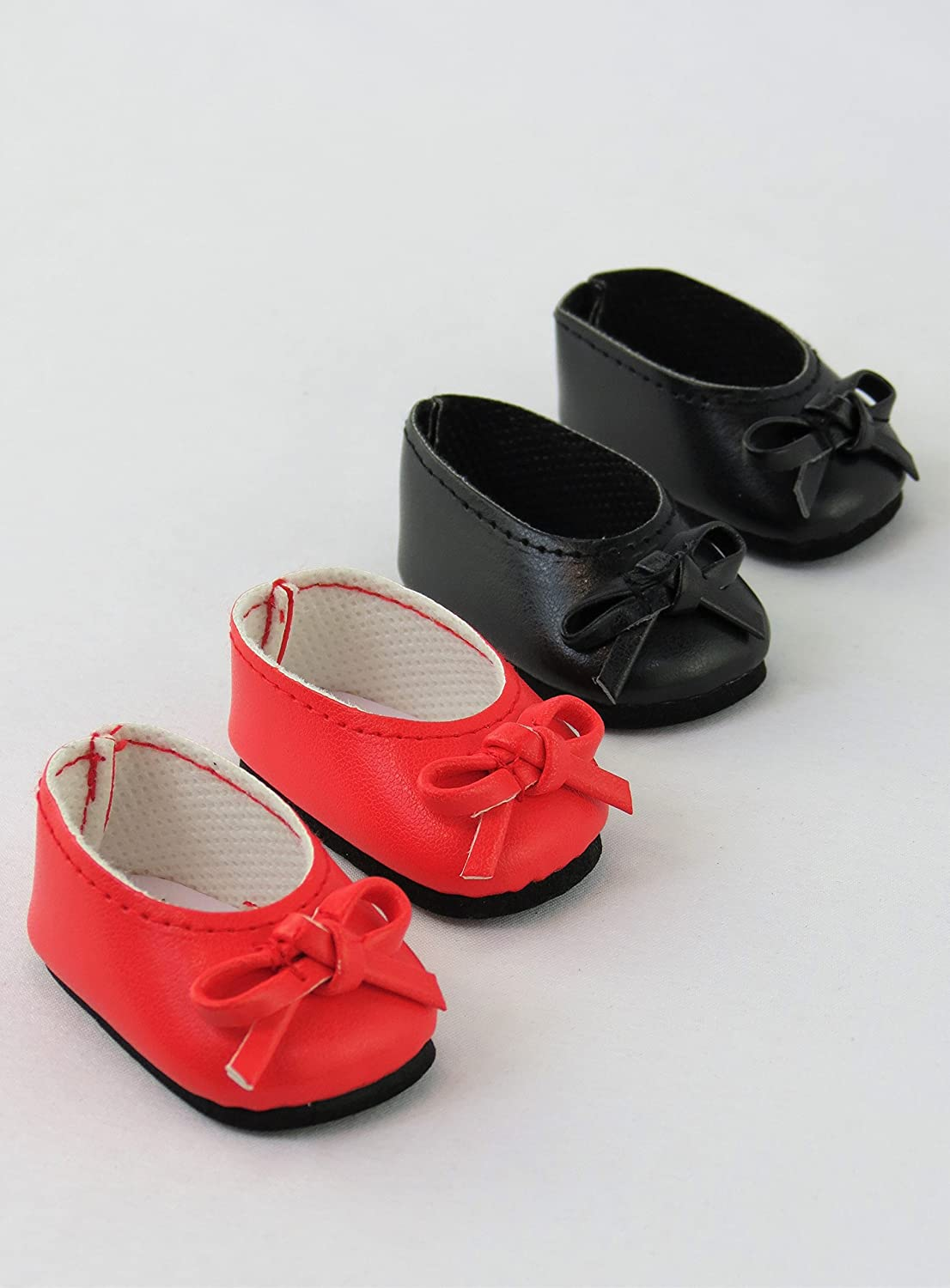 "RED Slip-On w// BOW DOLL SHOES fits American Girl 14.5/"" WELLIE WISHERS DOLL"