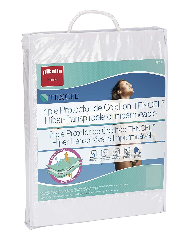 Pikolin Home Protector de colchón Tencel Triple Capa, híper-Transpirable e Impermeable, 150 x 190/200 cm, Blanco, 200: Amazon.es: Hogar