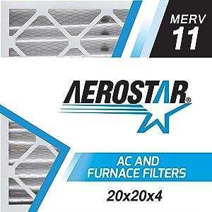 "Aerostar 20x20x4 MERV 11 Pleated Air Filter, Made in the USA 19 1/2"" x 19 1/2"" x 3 3/4"", 6-Pack"