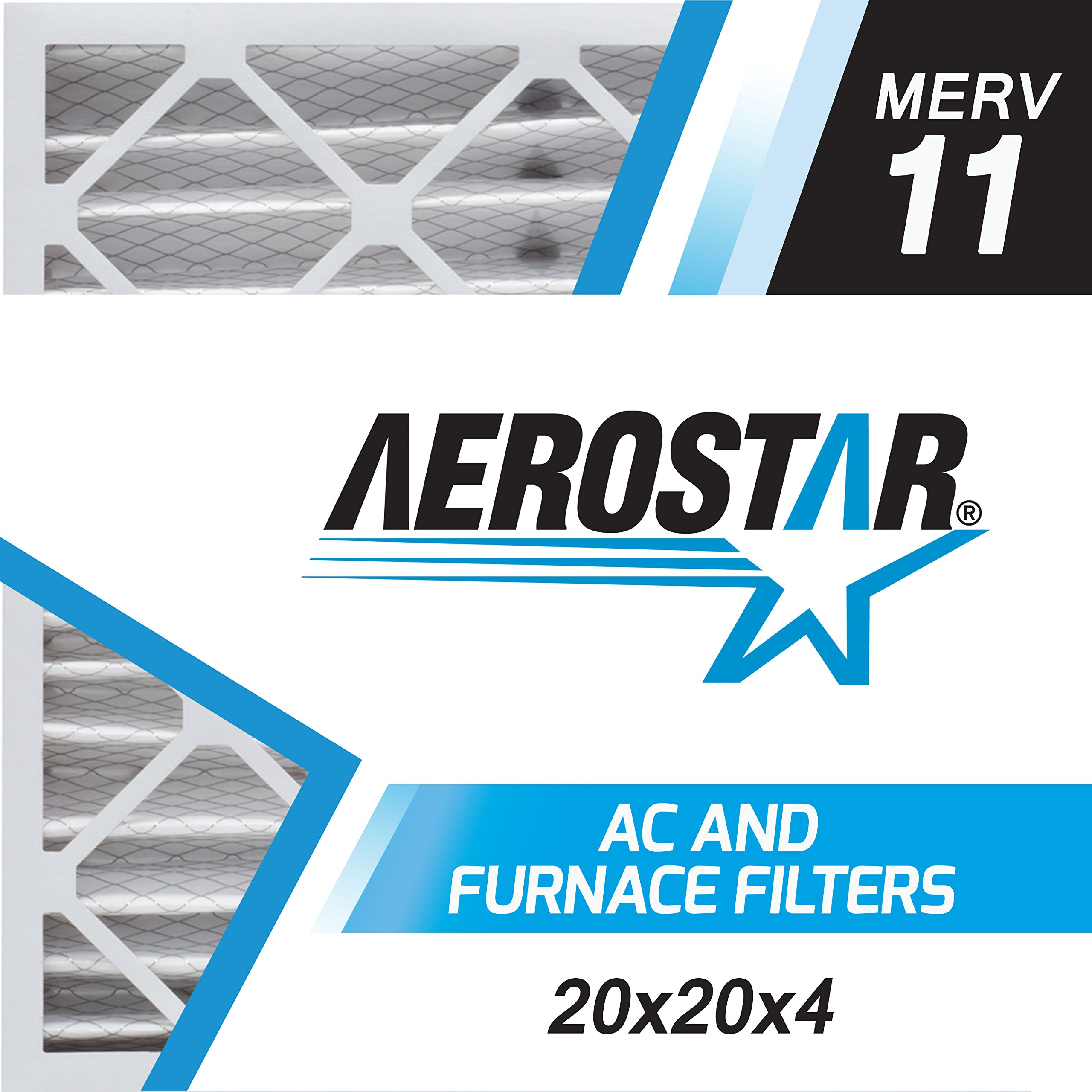 Aerostar 20x20x4 (Two Pack) MERV 11, Pleated Air Filter, 20 x 20 x 4, Box of 2, Made in the USA