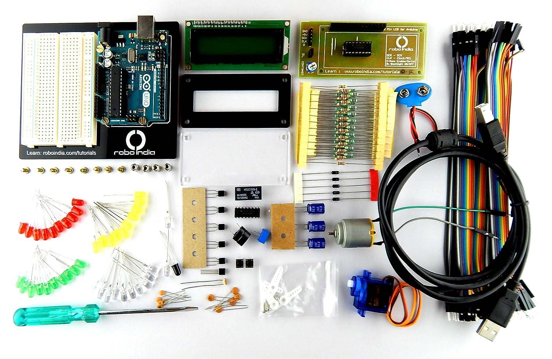 Robo India RBKR2 Arduino Starter Kit Revision 2 for Beginners, Builder'S  Kit Revision 2 By Robo India with Original Arduino Uno R3 Board, Made in