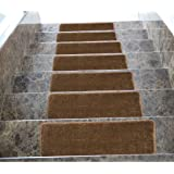 """Softy Stair Tread Mats, Skid resistant, Rubber Backing, Non Slip Carpet, 9""""x26"""", Solid Brown, 7 Piece"""
