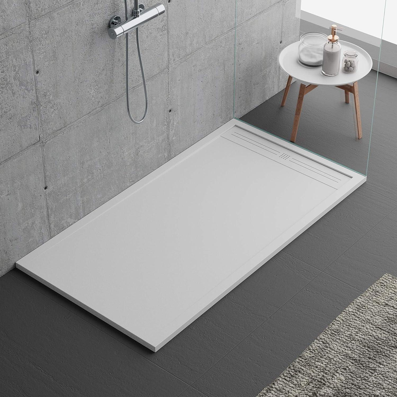 Plato de ducha de piedra, color blanco, serie Napoli Slim 3 cm ...