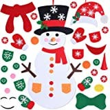 Max Fun DIY Felt Christmas Snowman Games Set with 3 Style Modes 38PCS Detachable Ornaments Wall Hanging Xmas Gifts for…