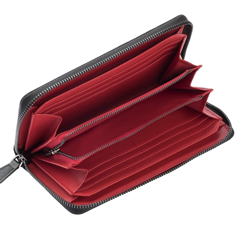 [グレース] イタリアンカーボンレザー 内装外装 本革 長財布 4カラー ラウンドファスナー 大容量 高級 本格志向 B06XCPD3JH 01 レッド × カーボンブラック 01 レッド × カーボンブラック