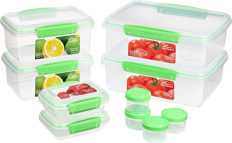 Sistema | 6 Plastic Lids | 4 Dressing to Go Pots | BPA-Free | 10 Freezer/Fridge/Pantry Klip IT Food Storage Containers