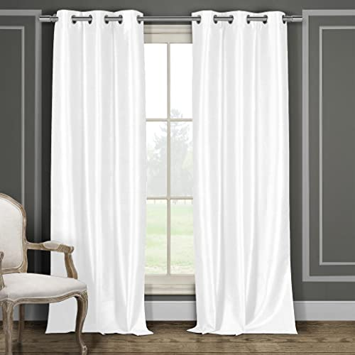 Faux Silk Grommet Top Window Curtain Pair Panel Drapes For Bedroom, Livingroom, Kids, Children, Nursery – Assorted Colors – 38 by 96 Inches, Set of 2 Panels – White