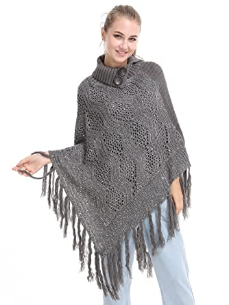 Sherrydc Womens Chic Turtleneck Cable Knit Tassel Poncho Sweater