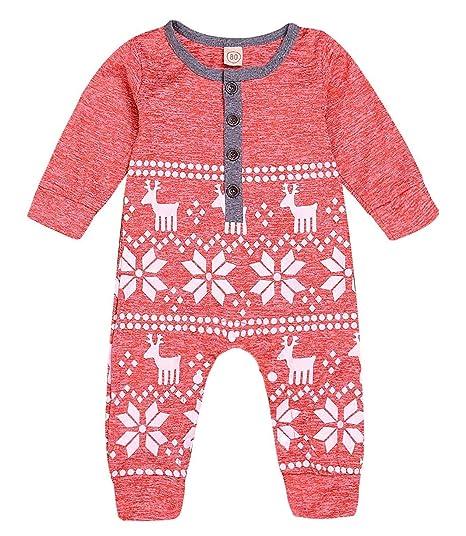 99c0215fb Mini honey Baby Girl Boy Christmas Romper Long Sleeve Bodysuit Snowflake Deer  Pajamas Outfit Red 0