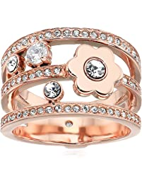 Michael Kors Women's in Full Bloom Floral and Crystal Accent Stacked Ring