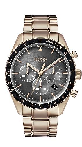 Hugo Boss Watch Mens Chronograph Quartz Watch With Rose Gold Strap