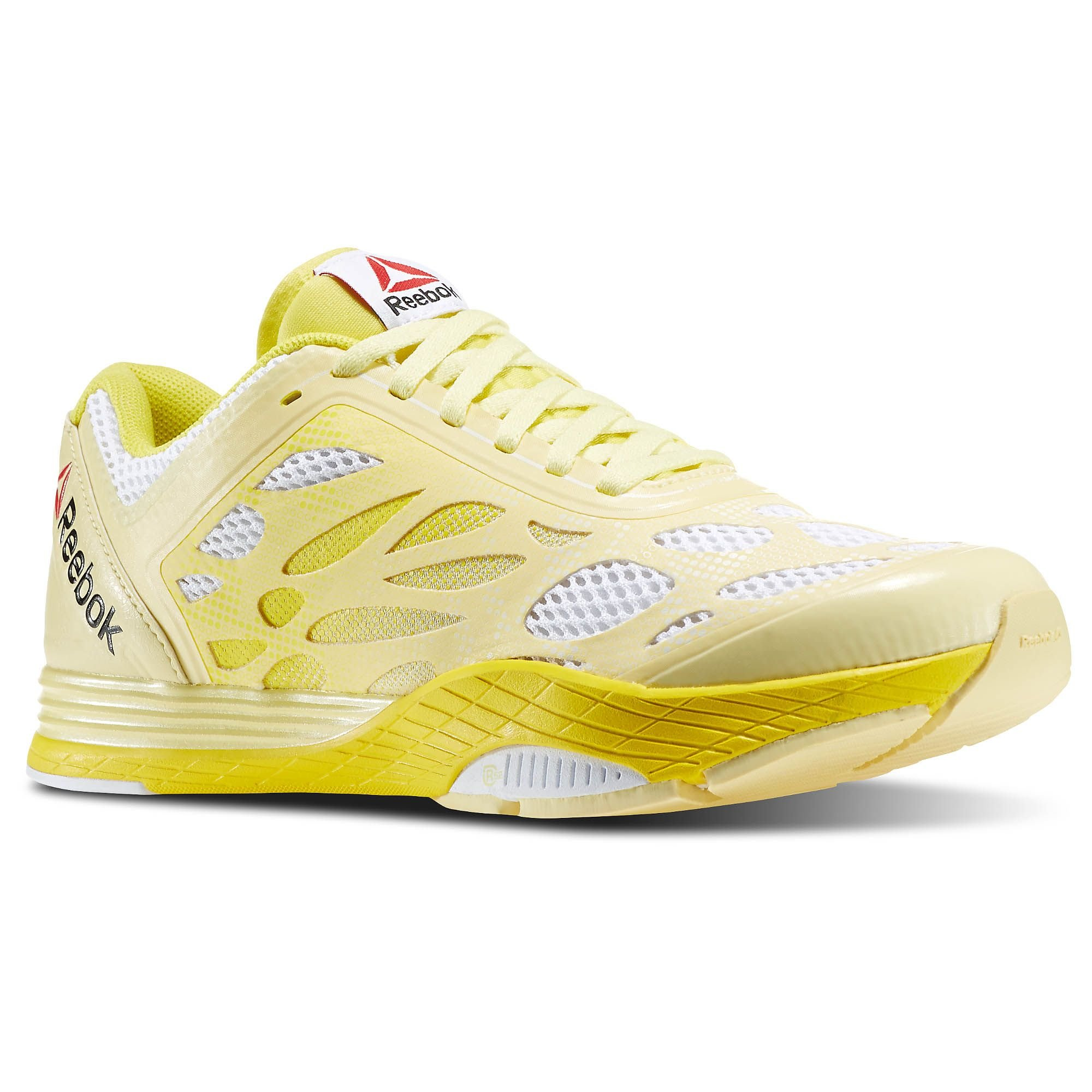 Reebok Womens Studio LM Les Mills Cardio Ultra Dance Shoes in White/Yellow Filament Size 9