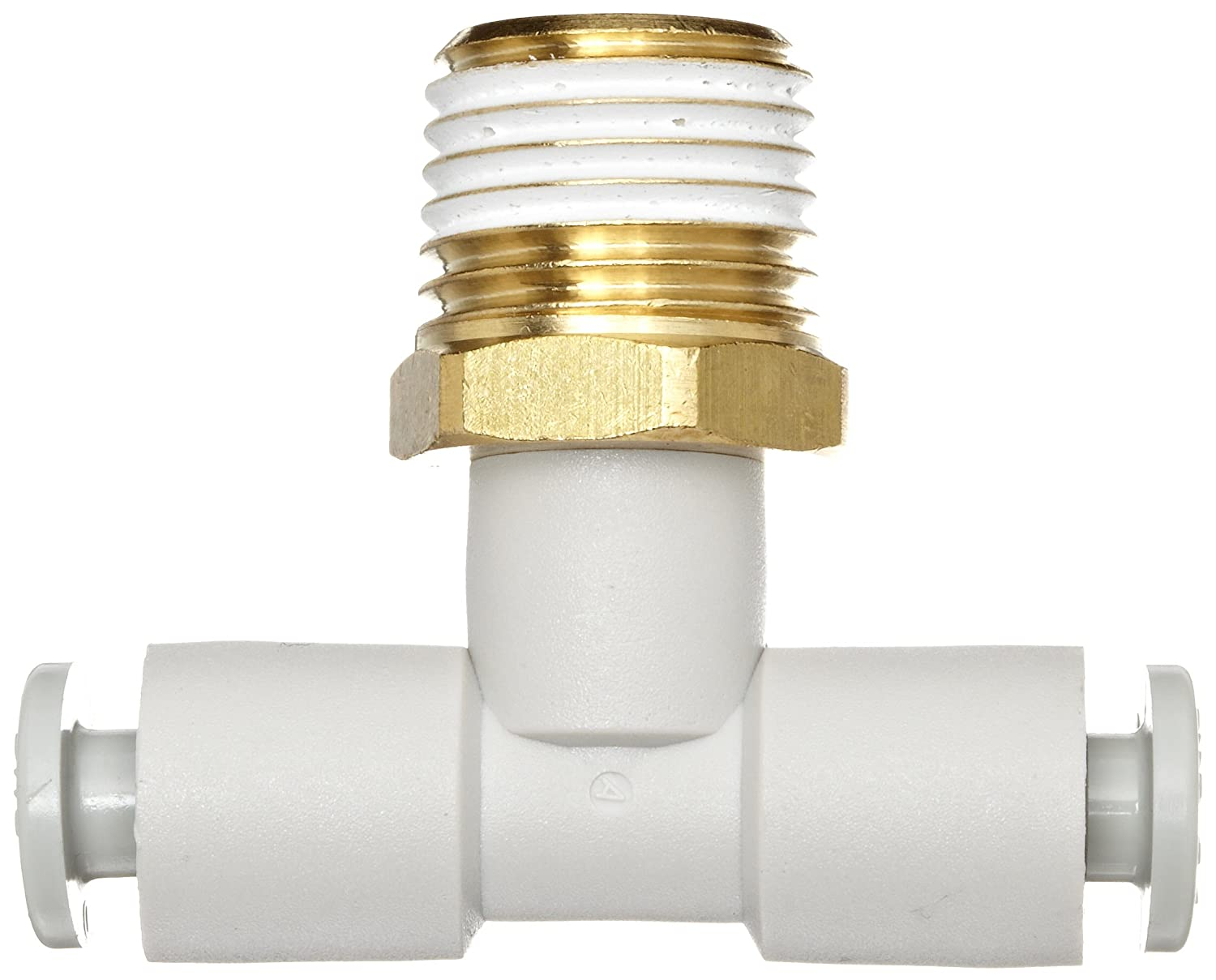 SMC KQ2T06-01AS PBT /& Brass Push-to-Connect Tube Fitting with Sealant 6 mm Tube OD x 1//8 BSPT Male Branch Tee