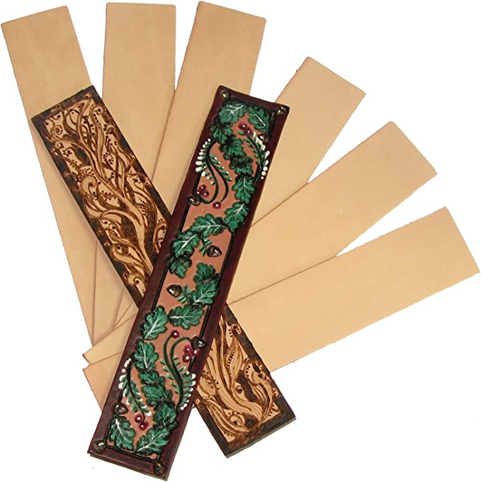 Vegetable Tanned Tooling Leather Bookmark Kit 25 Pack Tool Dye and Personalize
