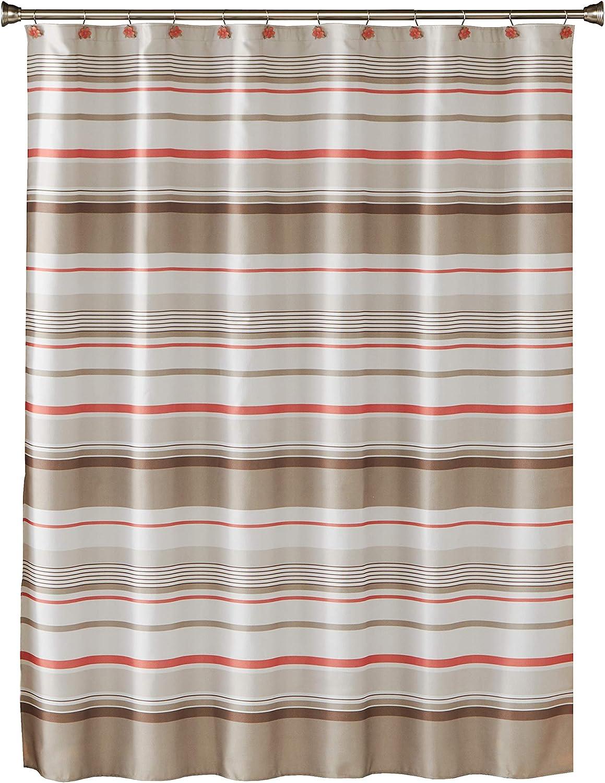 SKL Home by Saturday Knight Ltd. Coral Garden Stripe Fabric Shower Curtain, Tan