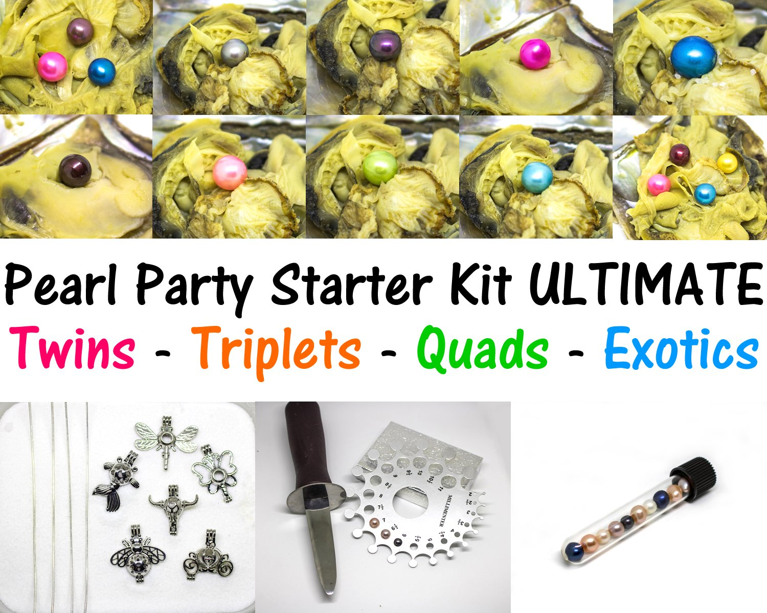 Akoya Oysters Pearl Party Starter Kit Ultimate - 20 Akoya Oysters w/ 1x Quadruplet + 2x Triplets + 3x Twins + 8 Pearl Cage Pendant Necklaces + Oyster Shuck + Pearl Gauge + Work at Home Business by Maddie's Pearls