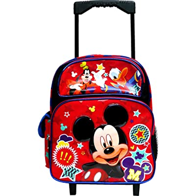 "Disney Mickey Mouse & Friends 12"" Small Toddler Canvas Red & Blue Rolling Backpack: Clothing"