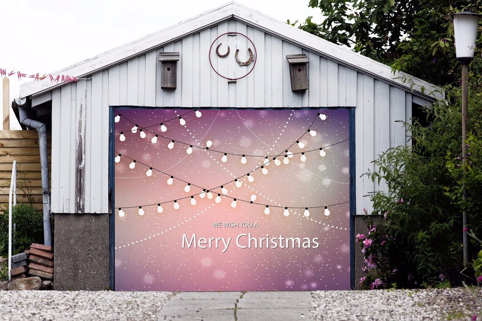 Merry Christmas Billboard Christmas Single Garage Door Covers Full Color 3D Effect Print Decorations of House MURAL Banner Holiday Garage Door Banner Size 83 x 89 inches DAV71