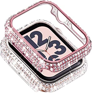 Surace Compatible with Apple Watch Case 42mm for Apple Watch Series 6/5/4/3/2/1, Bling Cases with Over 200 Crystal Diamond Protective Cover Bumper for 38mm 40mm 42mm 44mm, (2-Pack, Pink/Clear)