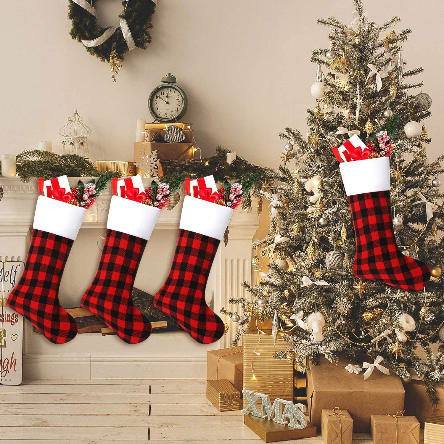 Skylety 6 Pieces 20 Inch Christmas Stockings Red and Black Plaid Stocking Faux Fur Cuff Stocking Fireplace Hanging Stockings for Family Holiday Xmas Party Decorations