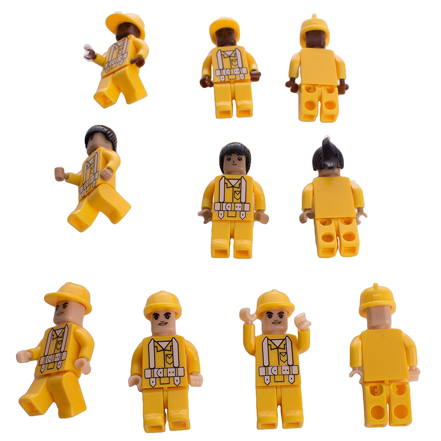 Assorted Construction Worker Interlocking Connecting Bricks Blocks Action Figures (10)
