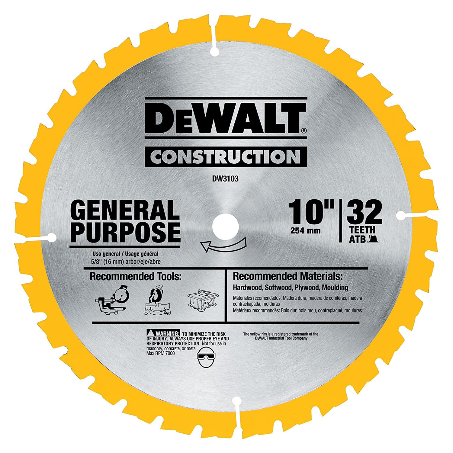 DEWALT DW3103 Series 20 10-Inch 32 Tooth ATB Thin Kerf General Purpose Saw Blade with 5/8-Inch Arbor