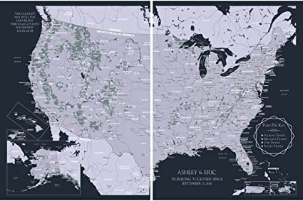 Amazoncom Custom Us Map Wall Decor Personalized Usa National - Custom-us-map