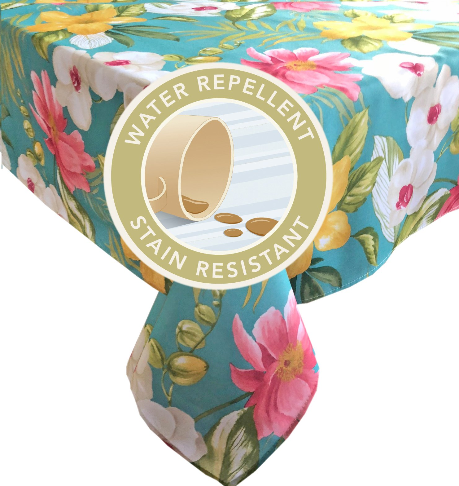 Calla Lily Teal Tropical Floral Summer and Spring Indoor/Outdoor Soil Resistant and Water Repellent Fabric Tablecloth - Patio, Picnic, BBQ, Kitchen Table Linens, 60 Inch X 102 Inch Oblong, Teal