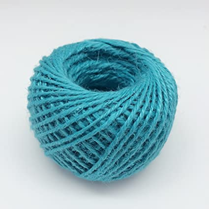 Diyjoys Blue Color 50 yards per roll Natural Jute twine 2.0mm string for art craft gift