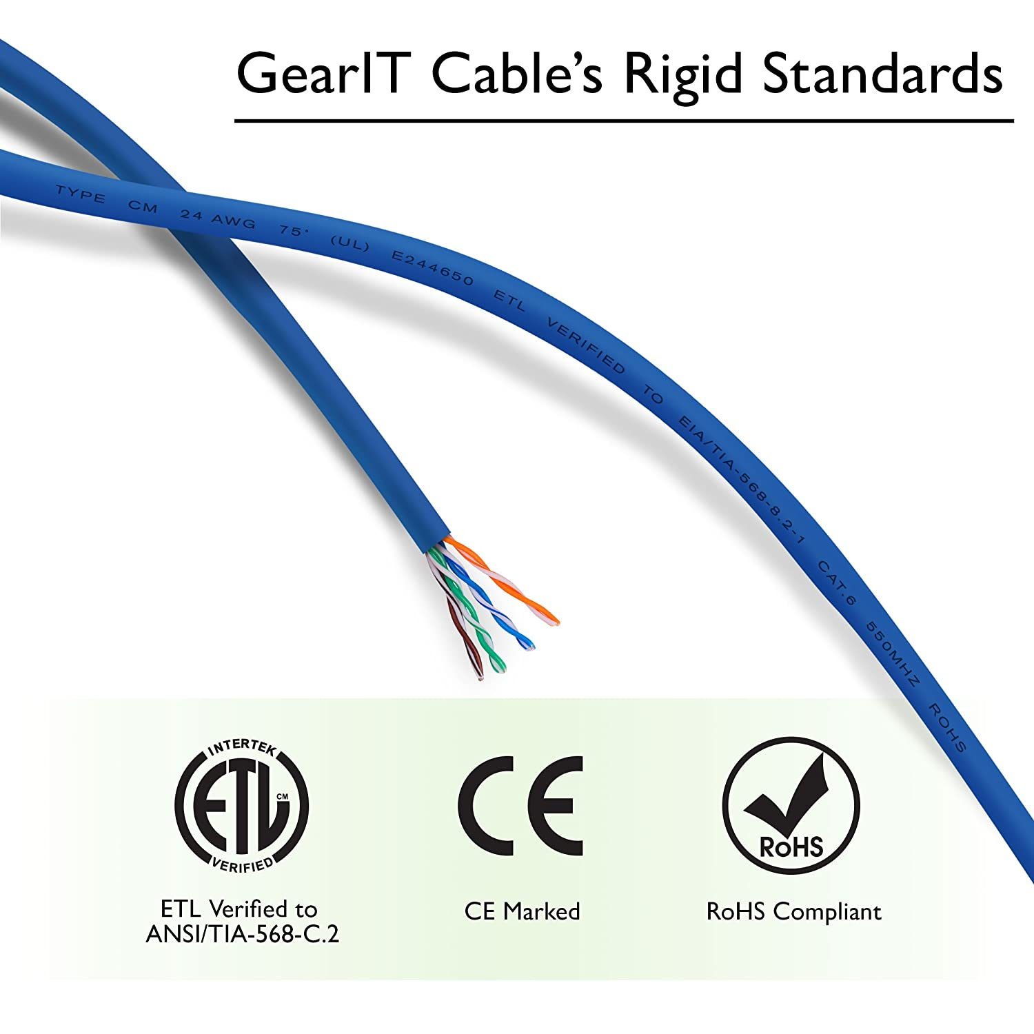 Compatible with 10 Port Switch POE 10port Gigabit GearIT 10 Pack Cat 6 Ethernet Cable Cat6 Snagless Patch 0.5 Feet Blue Computer LAN Network Cord